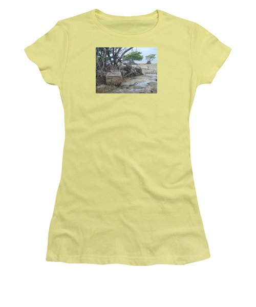 Women's T-Shirt (Junior Cut) featuring the photograph Beached Lobster Trap by Robert Nickologianis