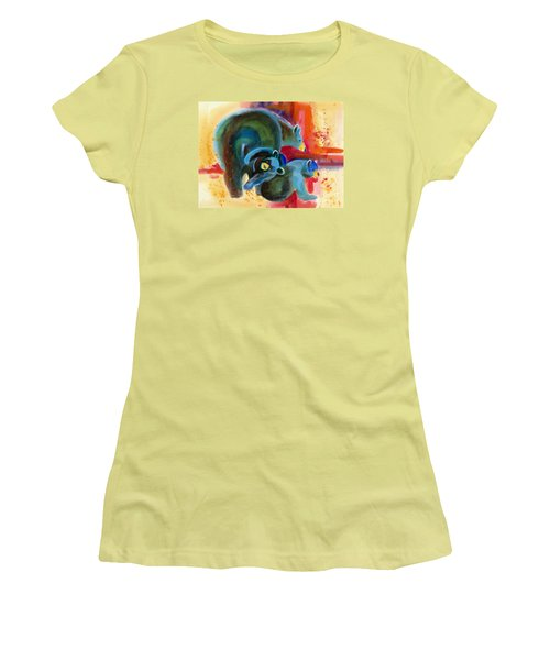Women's T-Shirt (Junior Cut) featuring the painting Bear Family In Red by Kathy Braud