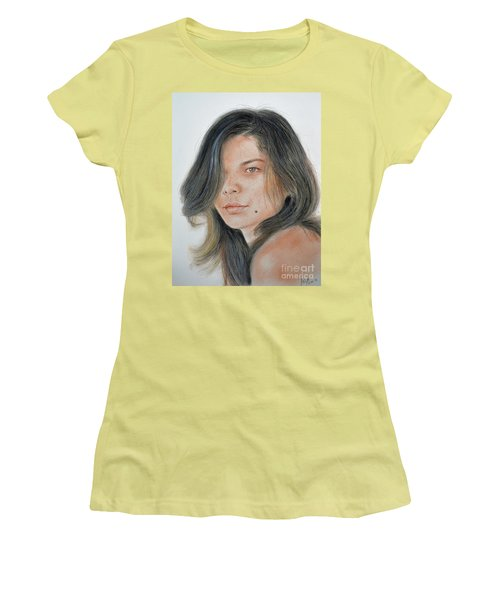 Women's T-Shirt (Junior Cut) featuring the drawing Beautiful And Sexy Actress Jeananne Goossen IIi  by Jim Fitzpatrick