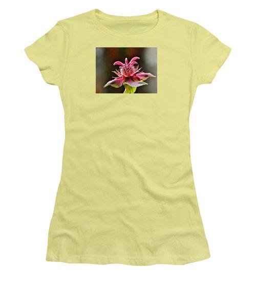 Women's T-Shirt (Junior Cut) featuring the photograph Bee Balm's Beauty by VLee Watson