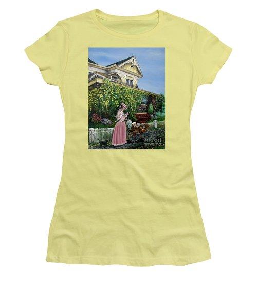 Behind The Garden Gate Women's T-Shirt (Junior Cut) by Linda Simon