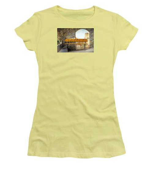 Bench In Riomaggiore Women's T-Shirt (Athletic Fit)