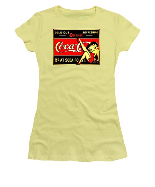 Betty Boop On Coke Women's T-Shirt (Athletic Fit)