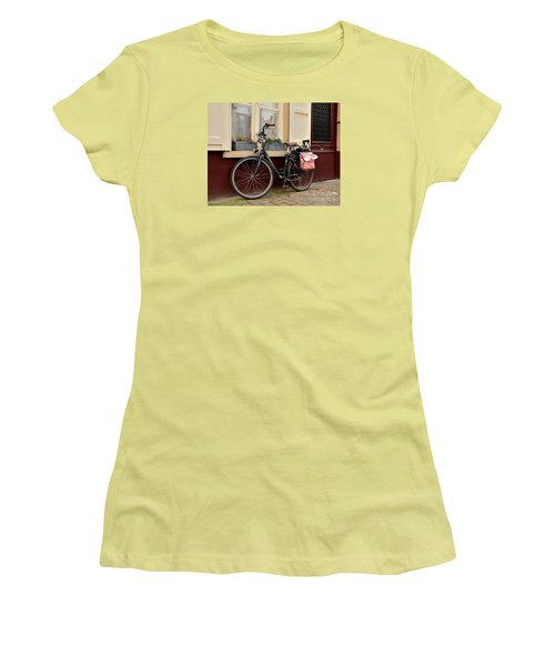 Bicycle With Baby Seat At Doorway Bruges Belgium Women's T-Shirt (Junior Cut) by Imran Ahmed