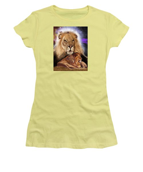Women's T-Shirt (Athletic Fit) featuring the painting Third In The Big Cat Series - Lion by Thomas J Herring