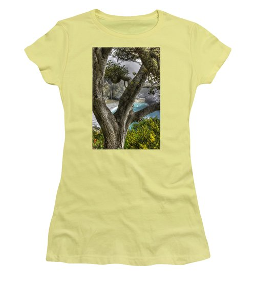 Big Sur Mc Way Falls At Julia Pfeiffer State Park-1 Central California Coast Spring Early Afternoon Women's T-Shirt (Junior Cut) by Michael Mazaika