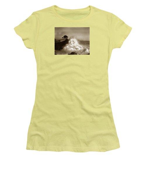 Big Wave Hitting The Lone Cypress Tree Pebble Beach California 1916 Women's T-Shirt (Junior Cut) by California Views Mr Pat Hathaway Archives