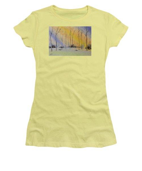Birch In Blue Women's T-Shirt (Junior Cut) by Richard Faulkner