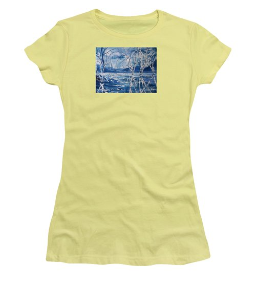 Birches In Blue Women's T-Shirt (Athletic Fit)
