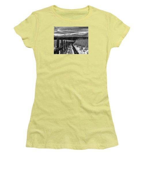 Women's T-Shirt (Junior Cut) featuring the photograph black and White Danger 2 bordway cover with slippery ice by Leif Sohlman