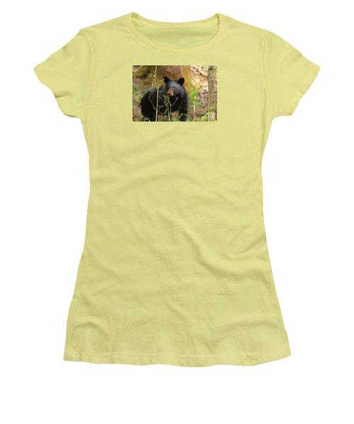 Women's T-Shirt (Junior Cut) featuring the photograph Black Bear by Geraldine DeBoer