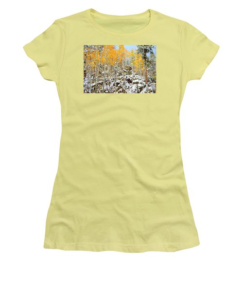 Women's T-Shirt (Junior Cut) featuring the photograph Black Hills Boulders by Clarice  Lakota