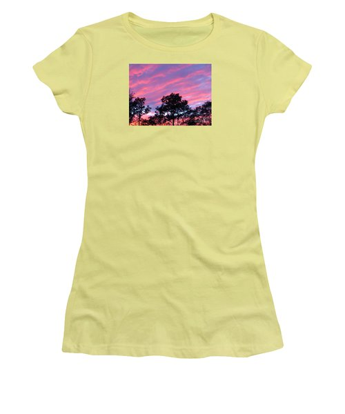 Women's T-Shirt (Junior Cut) featuring the photograph Blazing Pines by Joy Hardee