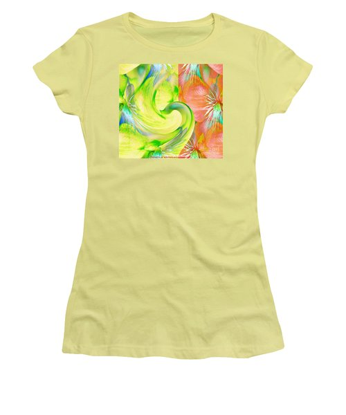 Women's T-Shirt (Junior Cut) featuring the mixed media Bloom Dance  by Maestro