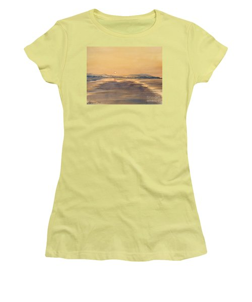 Women's T-Shirt (Junior Cut) featuring the painting Blue Anchor Sunset by Martin Howard