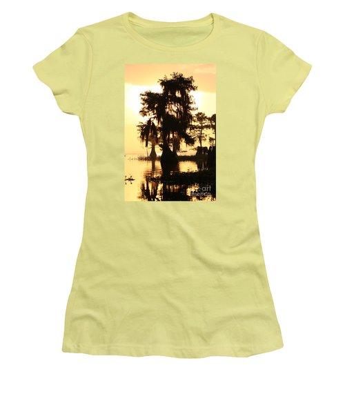 Women's T-Shirt (Junior Cut) featuring the photograph Blue Cypress Yellow Light by Paul Rebmann
