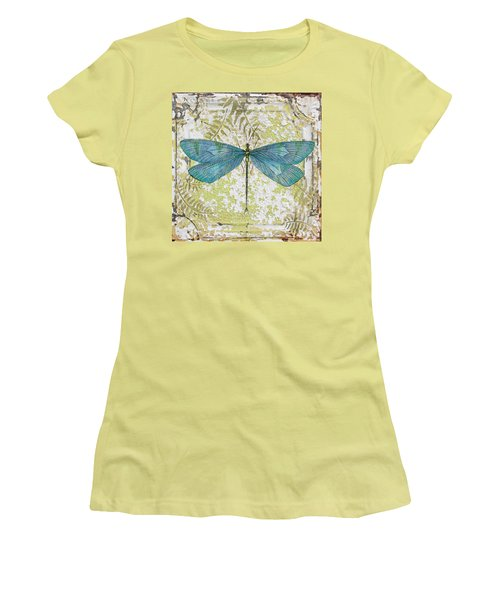 Blue Dragonfly On Vintage Tin Women's T-Shirt (Junior Cut) by Jean Plout
