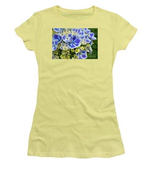 Women's T-Shirt (Junior Cut) featuring the photograph Blue Harlequin Hydrandea Flower by Valerie Garner