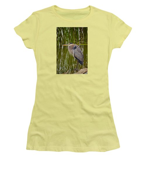 Women's T-Shirt (Junior Cut) featuring the photograph Blue Heron by Duncan Selby