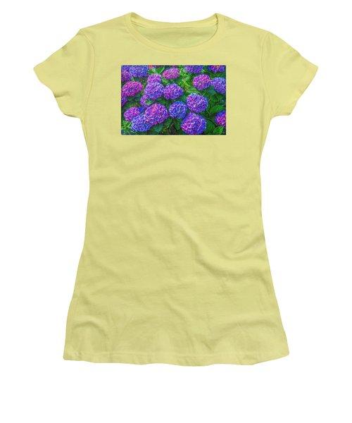 Women's T-Shirt (Junior Cut) featuring the photograph Blue Hydrangea by Hanny Heim