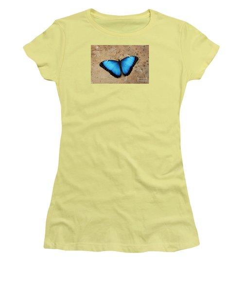 Blue Morpho #2 Women's T-Shirt (Junior Cut) by Judy Whitton