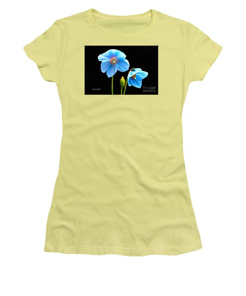 Blue Poppy Flowers # 4 Women's T-Shirt (Athletic Fit)