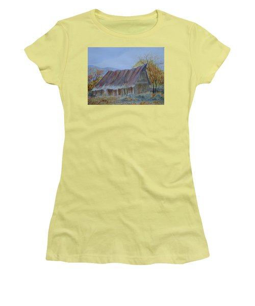 Women's T-Shirt (Junior Cut) featuring the painting Blue Ridge Barn by Joel Deutsch