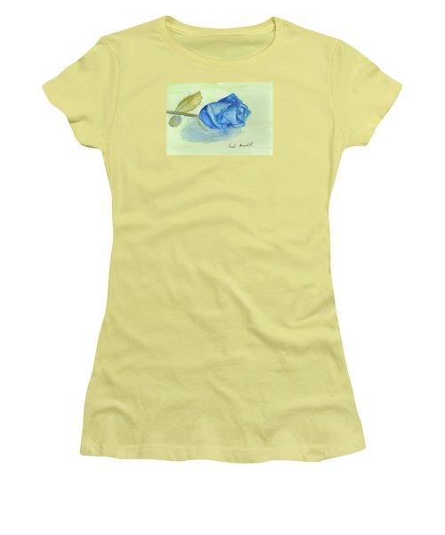 Blue Rose Women's T-Shirt (Junior Cut) by Pamela  Meredith