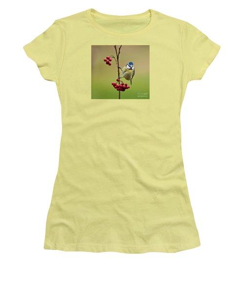Blue Tit With Hawthorn Berries Women's T-Shirt (Junior Cut) by Liz Leyden