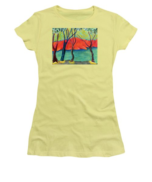 Blue Tree 2 Women's T-Shirt (Junior Cut) by Elizabeth Fontaine-Barr
