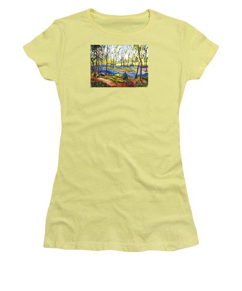 Women's T-Shirt (Junior Cut) featuring the painting Bluebell Woods by Carol Wisniewski