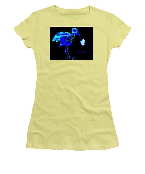 Women's T-Shirt (Junior Cut) featuring the painting Bluebird Watching by Hartmut Jager