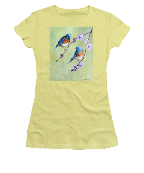 Bluebirds And Blossoms Women's T-Shirt (Athletic Fit)