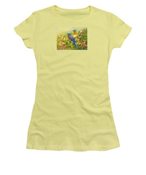 Bluebirds Women's T-Shirt (Junior Cut) by Loretta Luglio