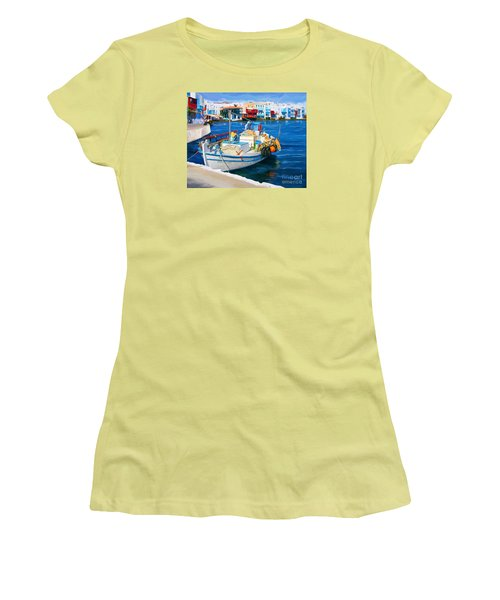 Boat In Greece Women's T-Shirt (Athletic Fit)