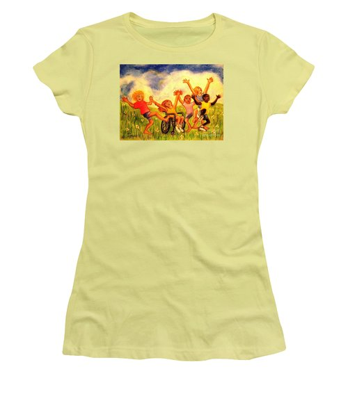 Women's T-Shirt (Junior Cut) featuring the pastel Born To Be Free by Hazel Holland