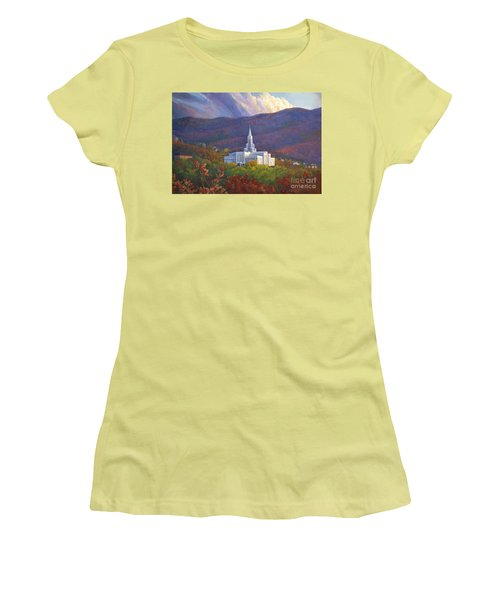 Bountiful Temple In The Mountains Women's T-Shirt (Junior Cut) by Rob Corsetti