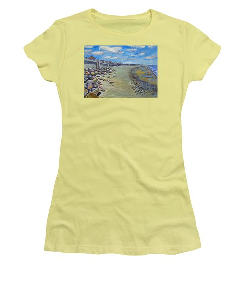 Brant Rock Beach Women's T-Shirt (Junior Cut) by Rita Brown