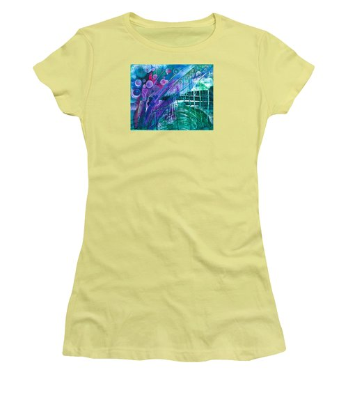 Women's T-Shirt (Junior Cut) featuring the painting Bridge Park by Adria Trail