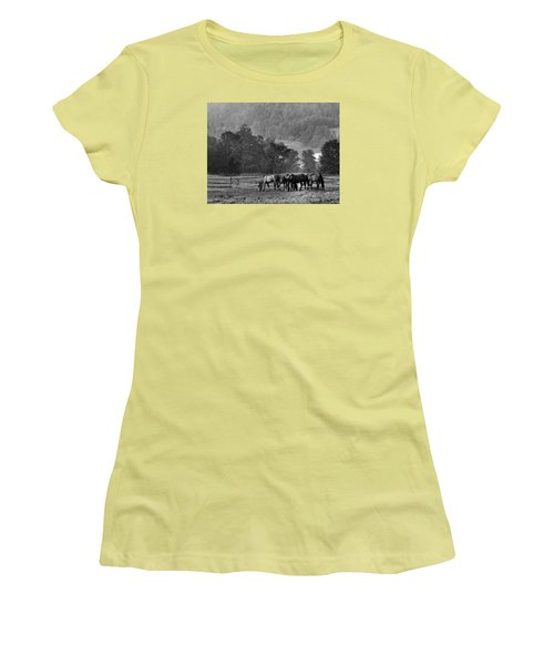 Women's T-Shirt (Junior Cut) featuring the photograph Broodmares by Joan Davis