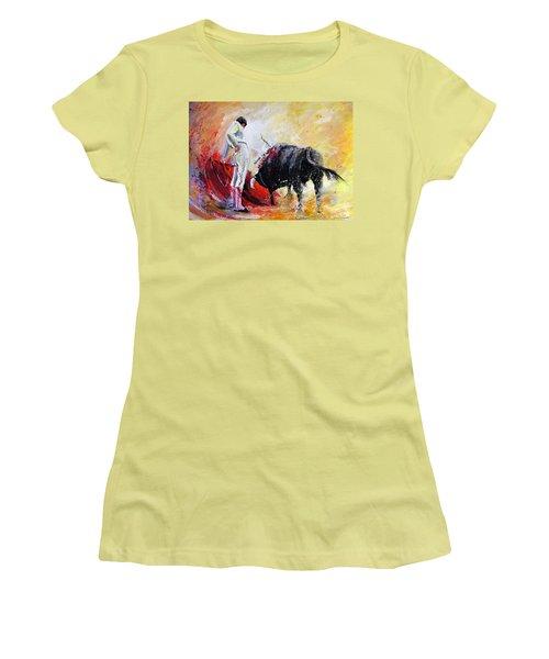 Bull In Yellow Light Women's T-Shirt (Junior Cut) by Miki De Goodaboom