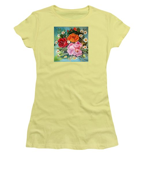 Women's T-Shirt (Junior Cut) featuring the painting Bunch Of Flowers by Yolanda Rodriguez
