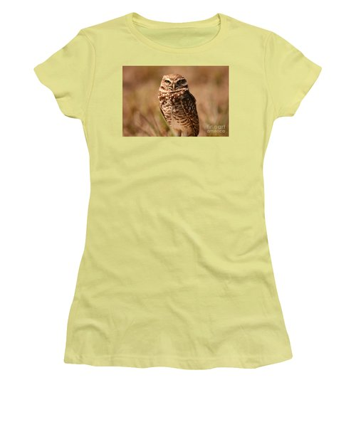 Women's T-Shirt (Junior Cut) featuring the photograph Burrowing Owl Impressions by John F Tsumas
