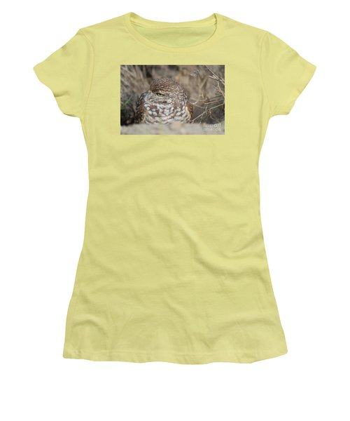 Women's T-Shirt (Junior Cut) featuring the photograph Burrowing Owl by Oksana Semenchenko