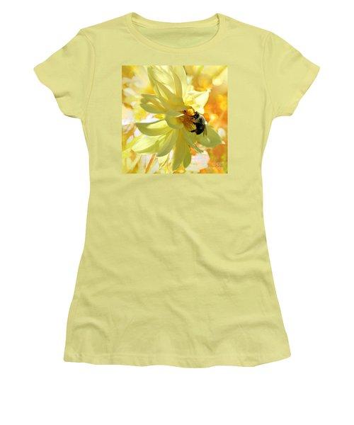 Busy Bumble Bee Women's T-Shirt (Junior Cut) by Judy Palkimas