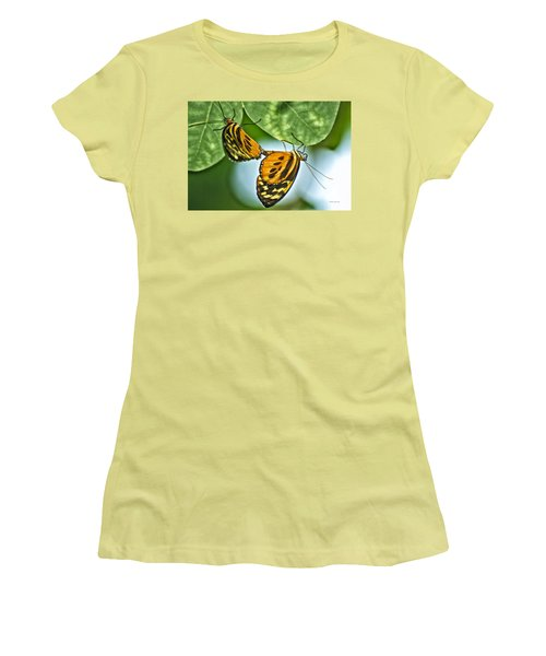 Women's T-Shirt (Junior Cut) featuring the photograph Butterflies Mating by Thomas Woolworth