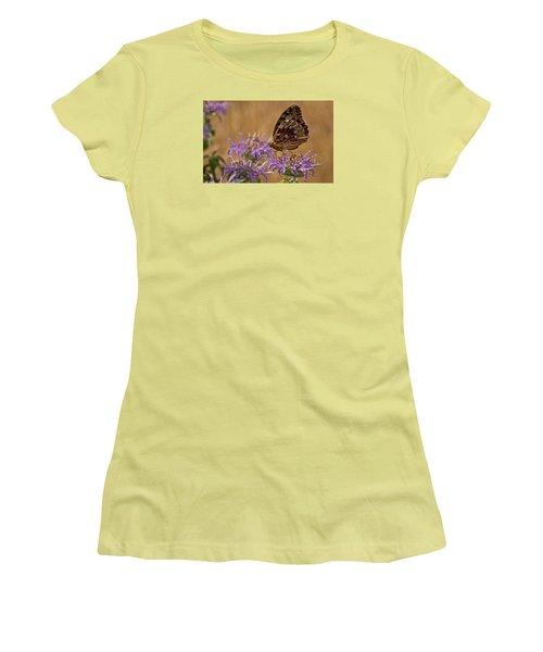 Butterfly On Bee Balm Women's T-Shirt (Junior Cut) by Shelly Gunderson