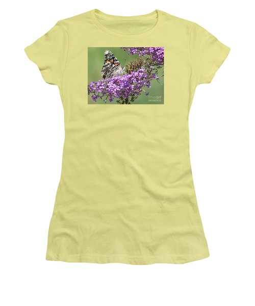 Women's T-Shirt (Junior Cut) featuring the photograph Painted Lady Butterfly by Eunice Miller