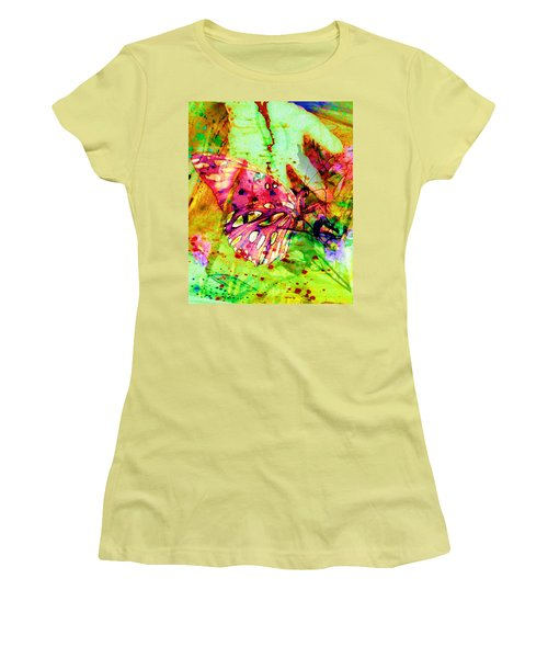 Women's T-Shirt (Junior Cut) featuring the painting Butterfly That Was A Muscian by David Mckinney