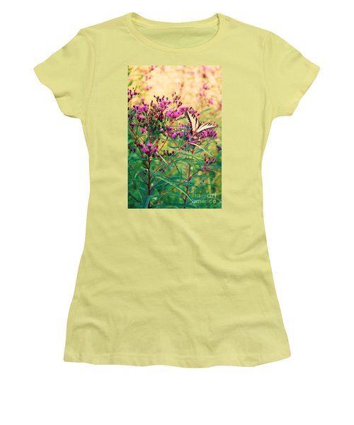 Women's T-Shirt (Junior Cut) featuring the painting Butterfly Wildflower by Eric  Schiabor